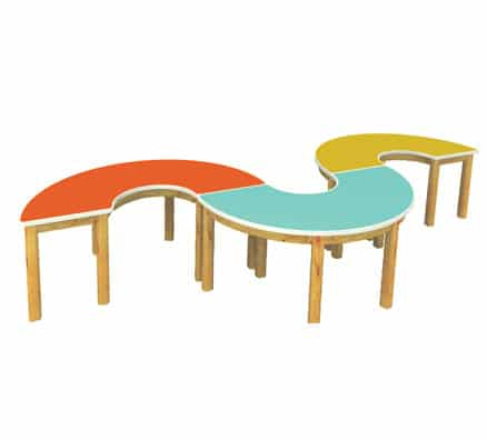 Kids Wooden Table | Jordan 3 Piece Curved Table